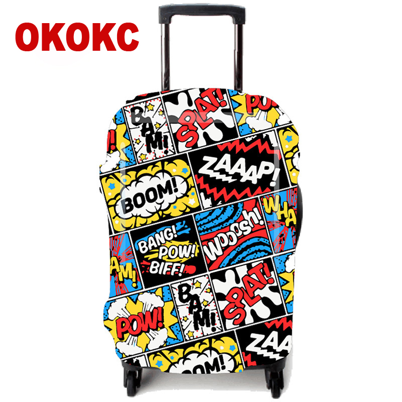 OKOKC Graffiti Elastic Thicker Luggage Protective Cover For 18-32 Inch Trolley Suitcase Protect Dust Case, Travel Accessories