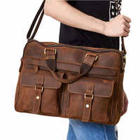 Männer Crazy Horse Leder Messenger Taschen Große Reise Aktentaschen Männlichen Reise Echtem Leder Handtaschen Männlichen Laptop Taschen