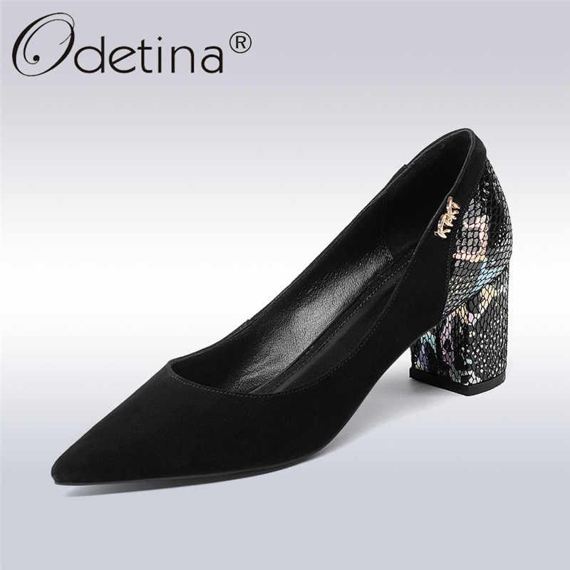 e70320d090b Odetina Новинка 2018 г. Модные Туфли-лодочки из натуральной кожи для женщин  с