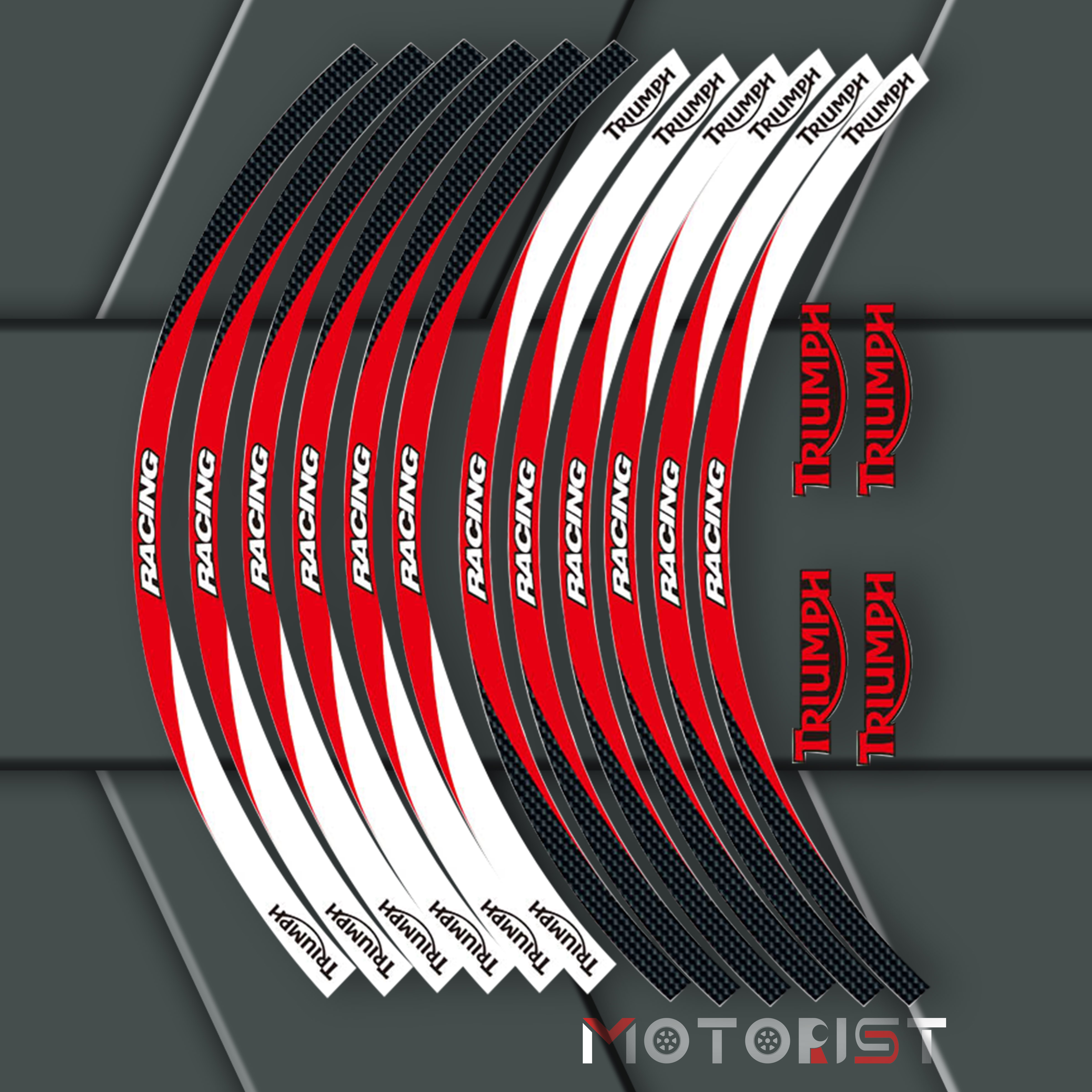 A Set Of 12pcs High Quality Motorcycle Wheel Decals Waterproof Reflective Stickers Rim Stripes For TRIUMPH