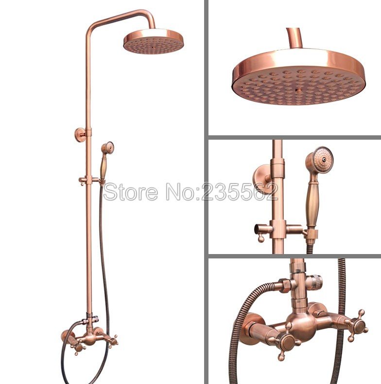 Wall Mount Bathroom Antique Red Copper Round Rainfall 7 7 inch Rain Shower Faucet Set Mixer