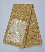 2017 High Quality African Lace Fabric Gold Royal Blue French Net Embroidery Sequins Tulle Lace Fabric