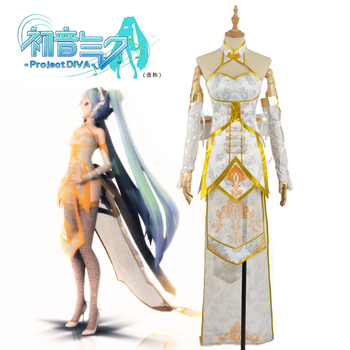 Vocaloid Miku Asymmetric Phenix High Low Cheongsam Cosplay Costume Custom Sexy Dress Skirt Women Clothing Outfit Adult