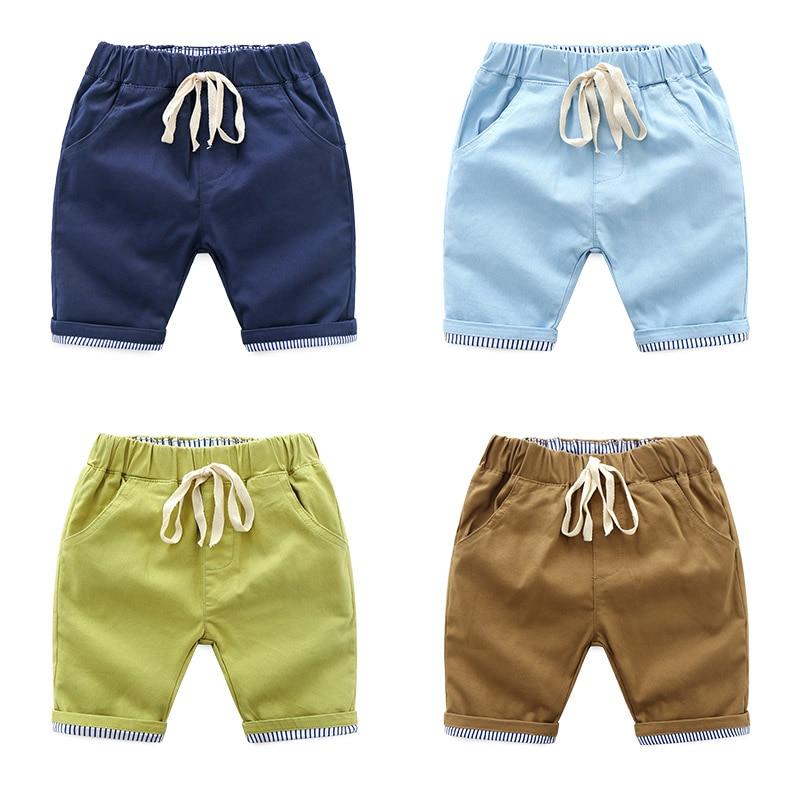DE PEACH 2018 New Boys Cotton Casual   Shorts   Pants Summer Kids Beach Pants Baby Boys Clothes Children Knee Length   Shorts  , 3-10Y