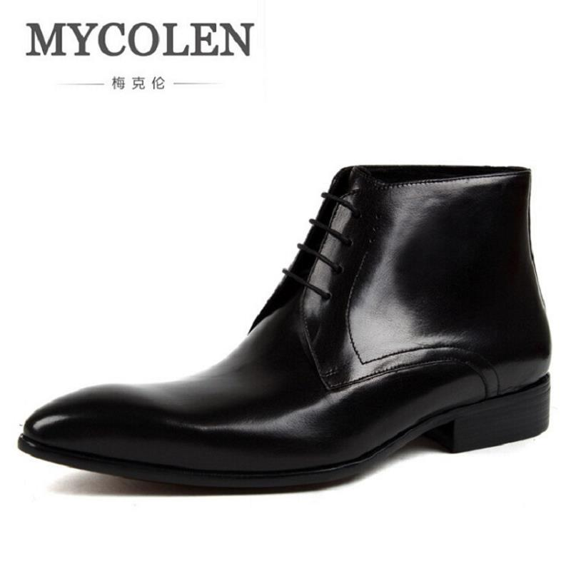 MYCOLEN Genuine Leather Men Boots Winter British Style Causal Classic Lace-Up Shoes Botas Mens Minimalist Design Ankle Boot fashion british style men s genuine matte leather boot shoes casual lace up male martin ankle chunky booties homme s4472