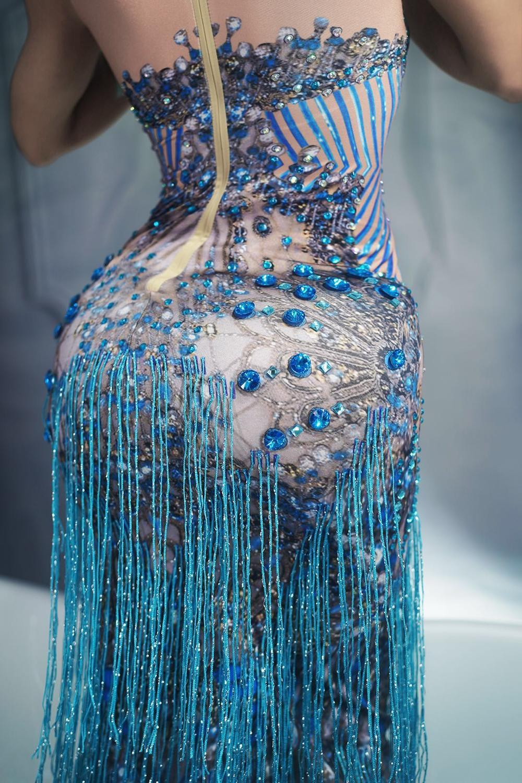 Sparkly Blue Fringes Dress Singer Performance Tassels Dresses Party Celebrate Glisten Rhinestones Costume Sleeveless Long Dress