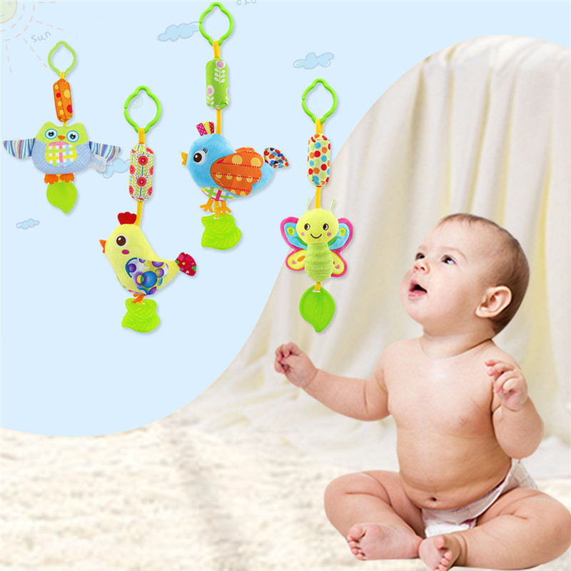 Baby Teethers With Cartoon Animals Soft Plush Toys Kids Silicone Teethers Infant Rattles Bell Hanging Toys