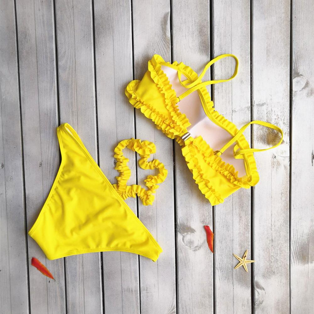 2019 Hole Women Bikini Sexy Bandage Bikini Set Padded Solid  Bikini Set Mid Waist Push Up Swimsuit Women Bikini 2019 #401
