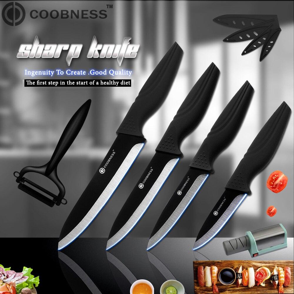 COOBNESS Zirconia Oxide Kitchen Knives Black Blade 3 4 5 6 Ceramic Knife Tools Best Electric Sharpener+Peeler