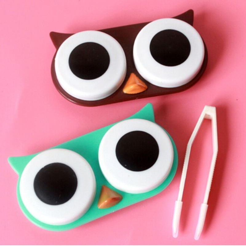 Travel Cute Owl Contact Lense Case Box Container Storage Soak Kit Hard Holder Professional Plastic Eyewear Accessories