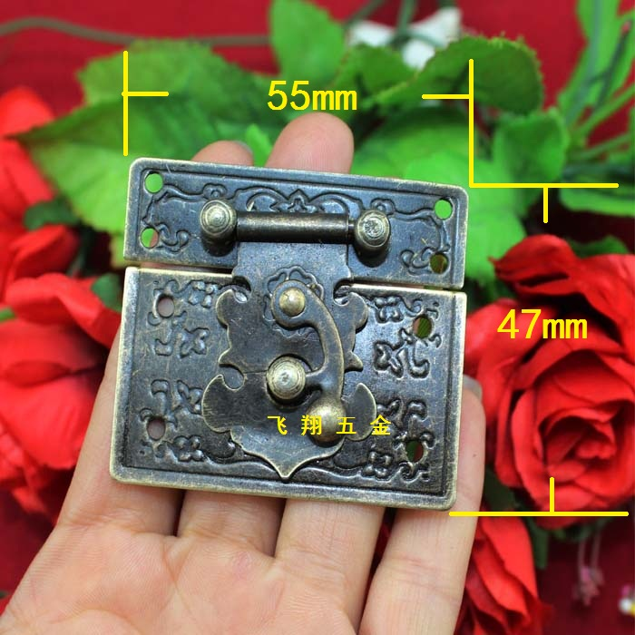 55 47mm Antique Wooden Box Lock Gift Hasp Metal Panel Box