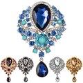 Wedding Bridal Bouquet Clear Crystal Rhinestone Teardrop Dangle Brooch Pin