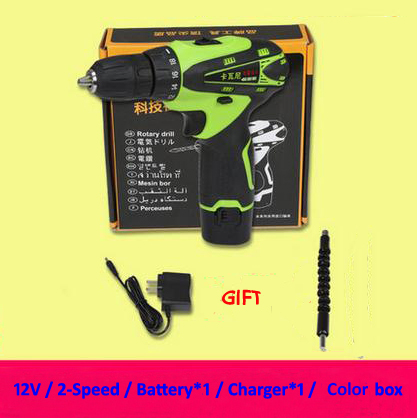 12V Electric Screwdriver Rechargeable Lithium Battery*1 Parafusadeira Furadeira Cordless Screwdriver Two-speed Power Tools