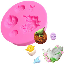 Cartoon Birds Nest Pigeon Flower Baking Silicone Mold Moule Fimo Tools For Cakes Lollipop Cake Decorating