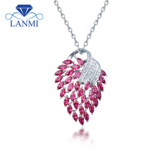 Vintage 18Kt White Gold Natural  Pink Ruby Pendant Necklace Shining Diamond  for Women Christmas Jewelry Gift E00153A