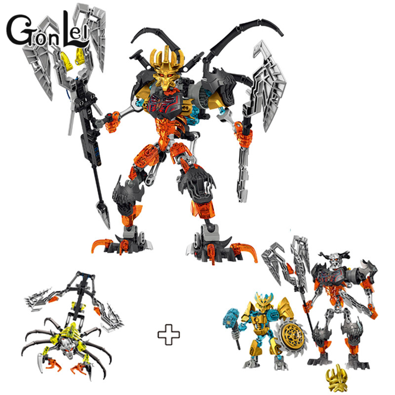 GonLeI 2015 new Bionicle Skull Warrior Slicer Basher 3 in 1 Building Block Toys Action  XSZ 711-2 bionicle максилос и спинакс