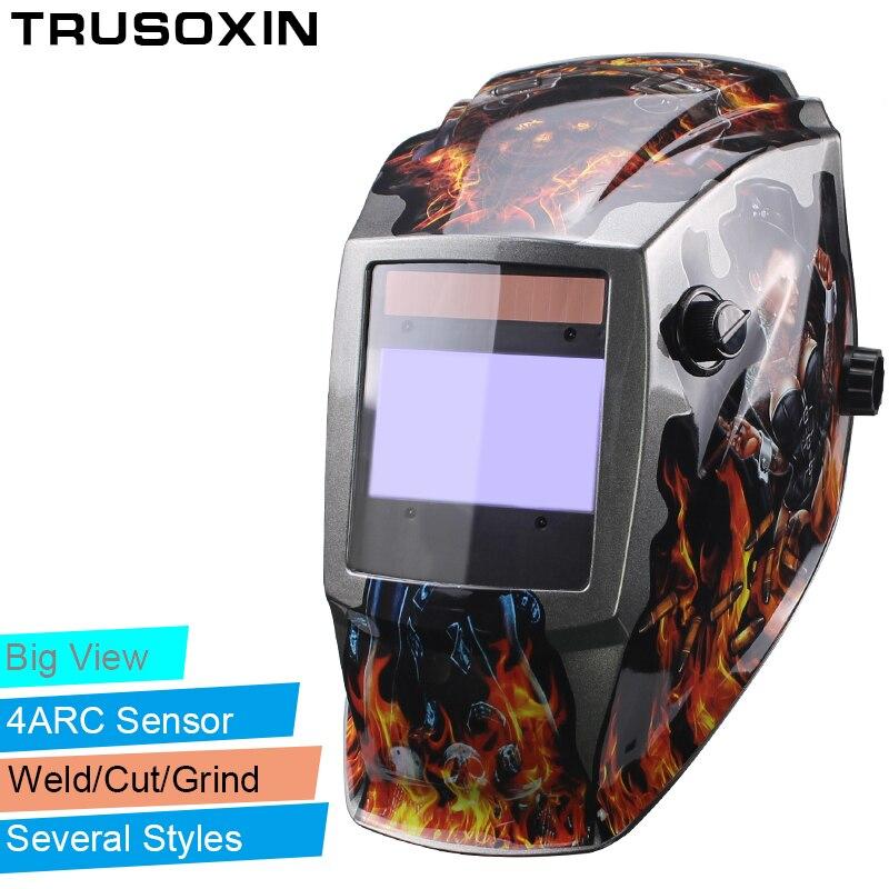 Feuer schädel Großen bereich view 4 arc sensor Solar Auto verdunkelung TIG MIG MMA schweißen helm/gesicht maske/ elektrische schweißer maske/brille