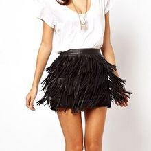 883660dac5d Модные женские юбки сексуальные черные кожаная бахрома PU юбки А-силуэта на  молнии с кисточками с высокой талией Мини-Юбка ..