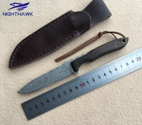 NIGHTHAWK 002 Fixed Blade Knife Damascus VG10 Steel Blade Yellow Sandalwood Handle Outdoor Camping Tool Woodworking