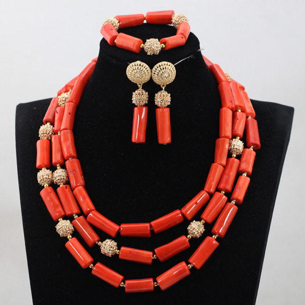 Classic African Artificial Coral Beads Necklace Set Chunky Bridesmaid Nigerian Women Beads Jewelry Handmade Birthday Set QW1024Classic African Artificial Coral Beads Necklace Set Chunky Bridesmaid Nigerian Women Beads Jewelry Handmade Birthday Set QW1024