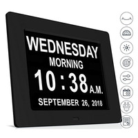 8 Digital Alarm Clock Extra Large Non Abbreviated Day Clock Date Time Display Table Clocks for Seniors Memory Loss People