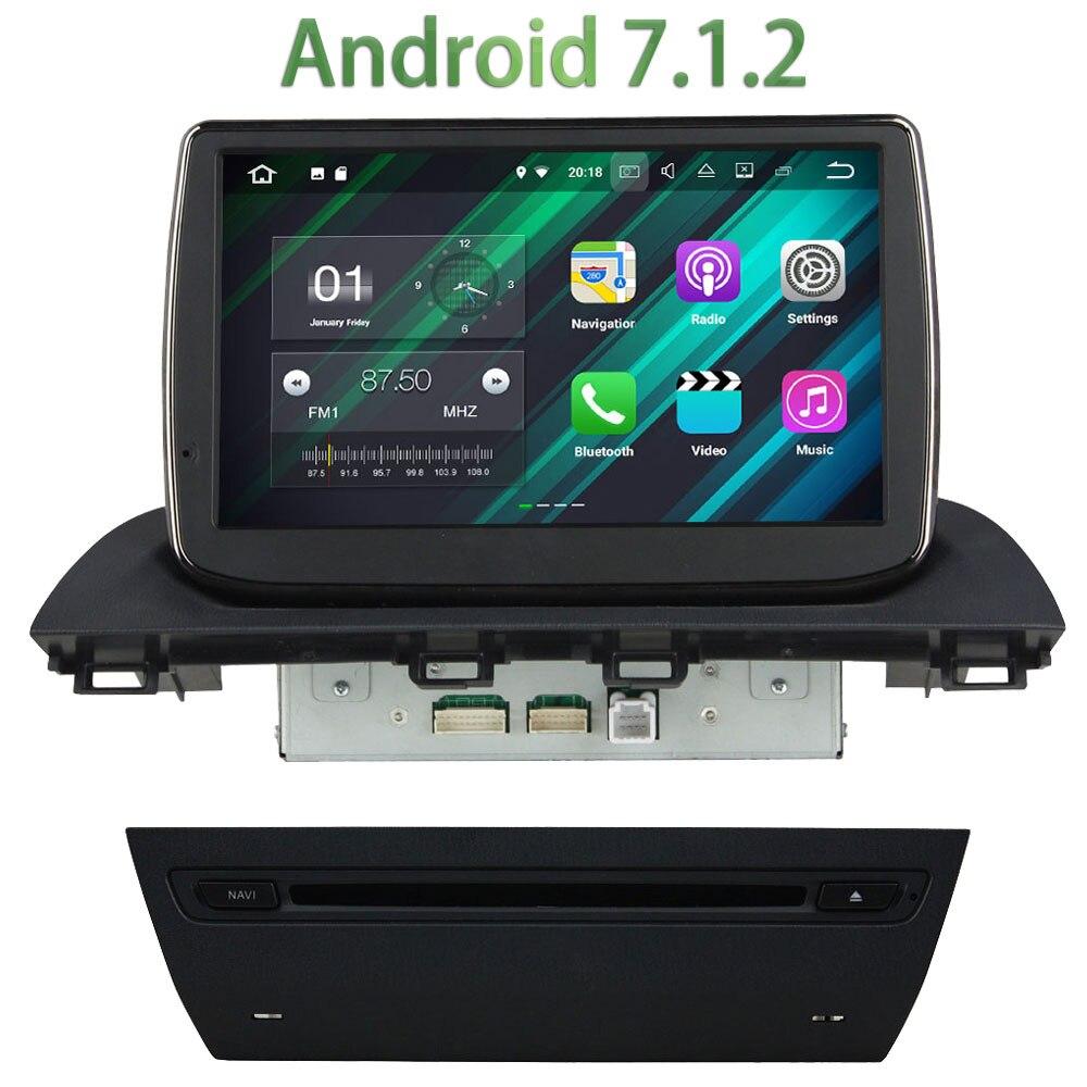 2 GB RAM 1 Din Android 7.1.2 Quad core autoradio lecteur stéréo multimédia GPS Navi écran d'affichage tactile pour Mazda 3 Axela 2014