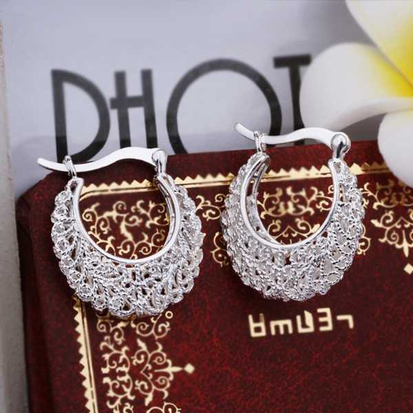 Hot Sell!Wholesale earring,silver plated fashion jewelry Earrings,Openwork Flower Earing SMTE329