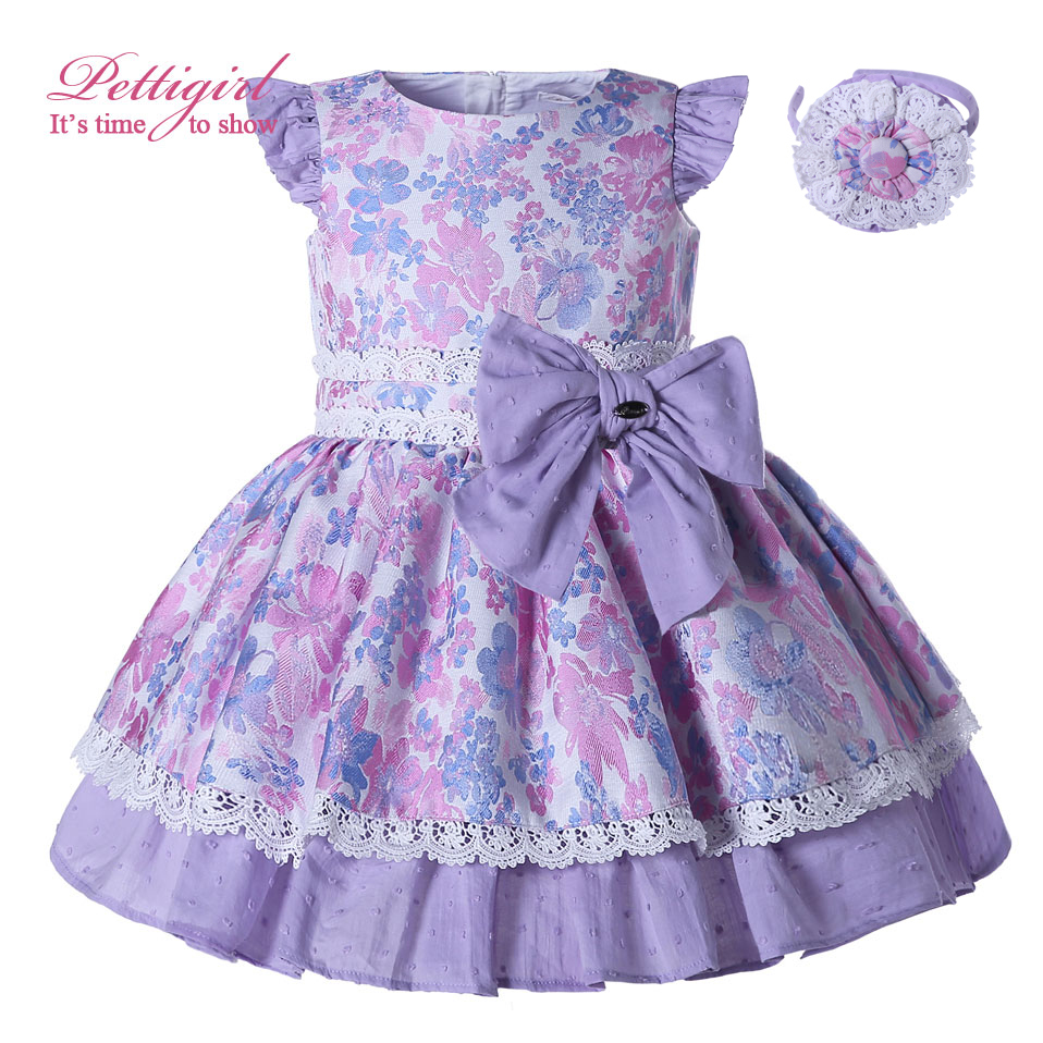 Pettigirl Summer Purple Floral Girl Dresses With Bow Fly Sleeve Kids Dresses Boutique Cotton Holiday Dresses