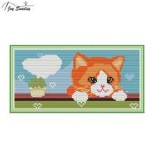 Joy Sunday Love Cat Cross Stitch Patterns Aida Cloth Printed Canvas for Embroidery DIY Hand Needlework DMC Threads