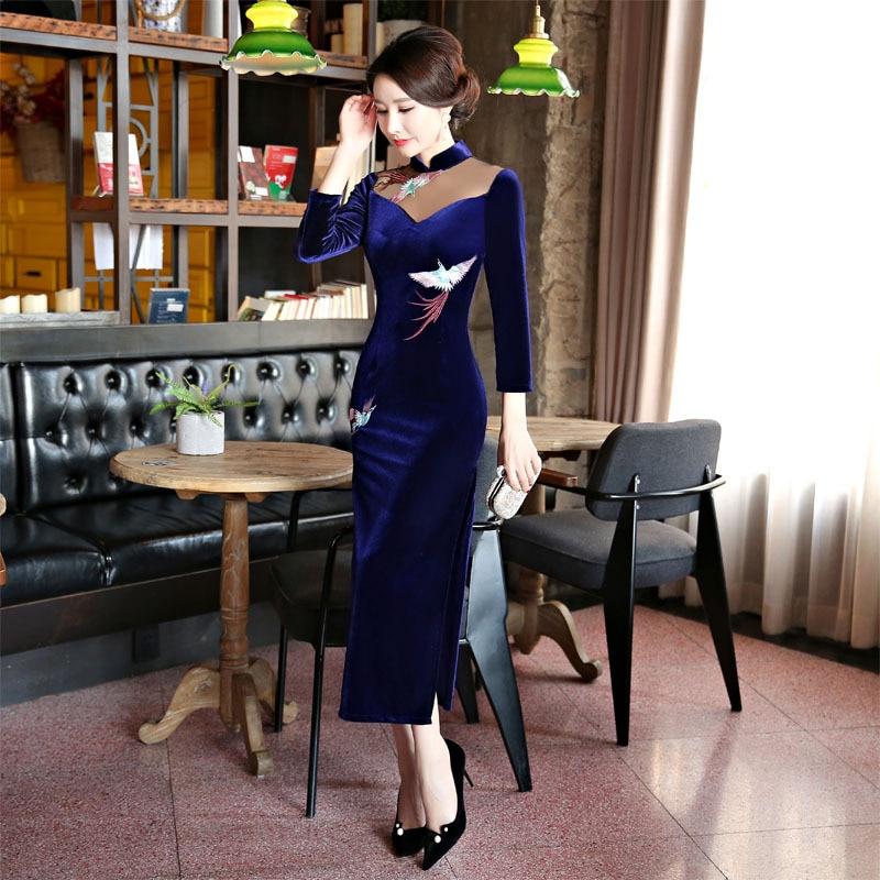 2018 nouveau bleu marine velours Qipao robe Style chinois femmes Mandarin col Long Cheongsam robes de grande taille M L XL XXL XXXL 4XL - 5