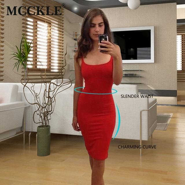 MCCKLE  7 Colour Women Simple Casual Dress Simple Brand Designer Sleeveless American Apparel Summer Style dresses Tango Vestidos