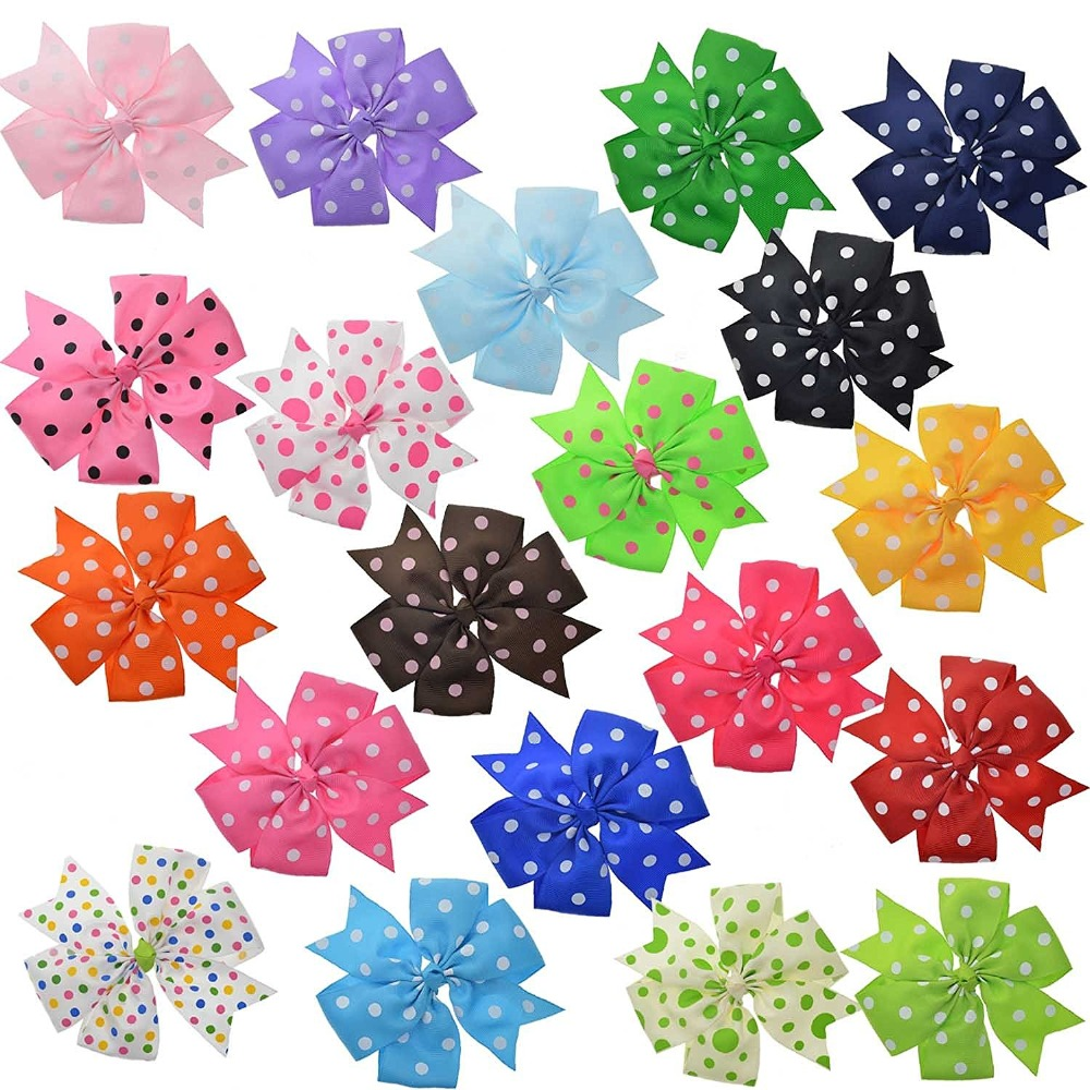 20 Bulk Ribbon Hair Bows For Little and Big School Girls