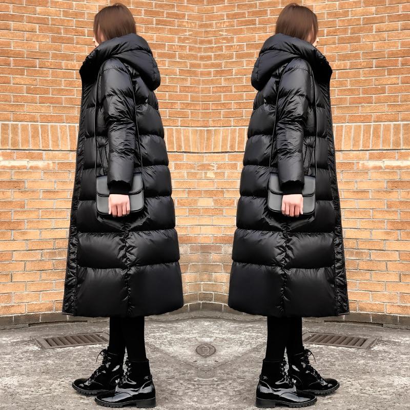 vent Blanc Coupe Canard Brillant Duvet Nouveau Manteaux Femmes Hiver Fille Longue Lâche Capuche Femme Slim Noir Épais Manteau De Veste 2019 qF4S6wZI