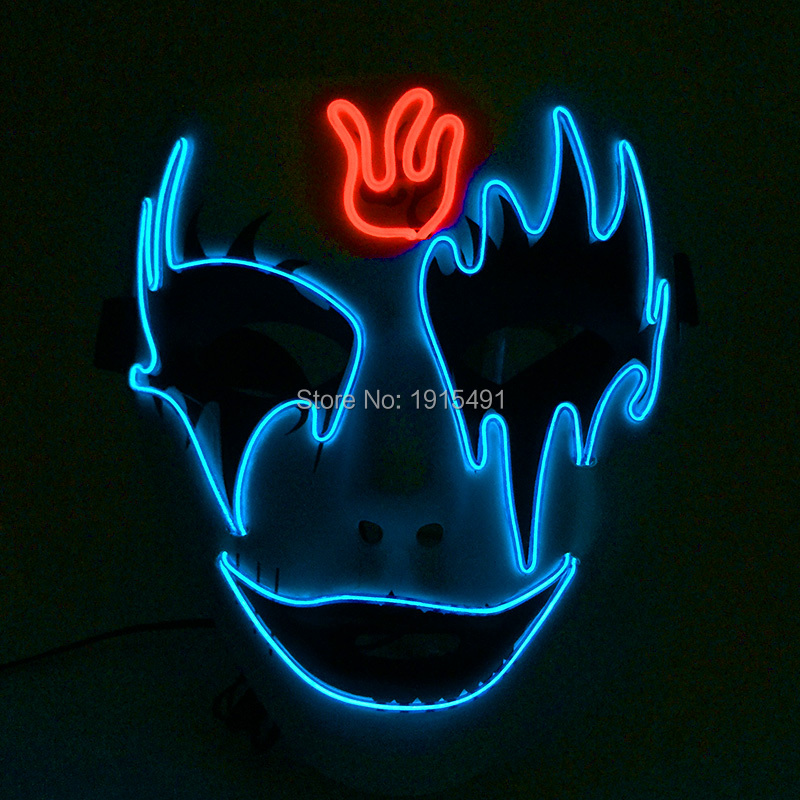 Attractive Valentines Day Glowing EL Wire Rope Gorgeous Fluorescent Mask Neon Led Strip Twin Colors Colorful Mask as Event Gifts