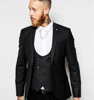 New Arrival One Button Groomsmen Notch Lapel Groom Tuxedos Men Suits Wedding/Prom Best Man Blazer ( Jacket+Pants+Vest+Tie)A85 notch lapel pocket one button blazer and pants twinset
