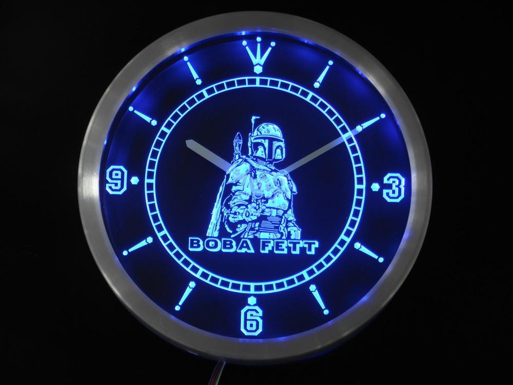 Nc0217 Боба Фетт Звездные войны неоновая вывеска светодиодный настенные часы
