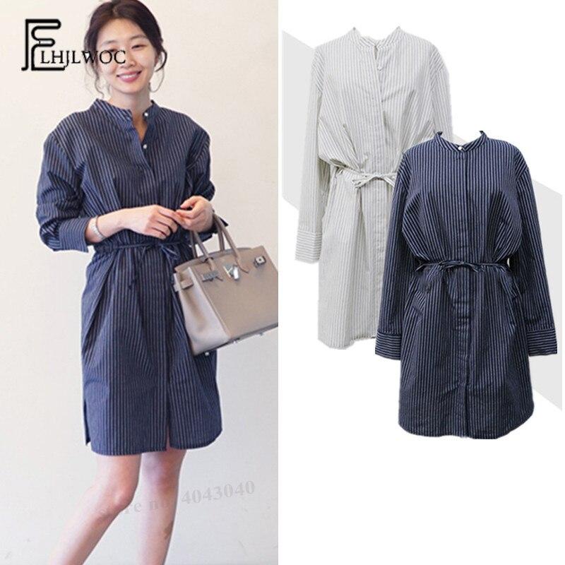Hot Sale Daily Apparel Female 2019 Fashion Casual Shirt Top Korean Spring Long Sleeve Polka Dot Print Chiffon Blue Khaki Blouse For Women Blouses & Shirts