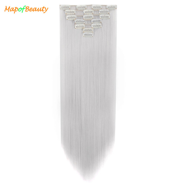 """MapofBeauty 7Pcs 20"""" Long Straight Silver Black Brown pink hair extension Clips women Synthetic hairpiece clip in False Hairpins"""