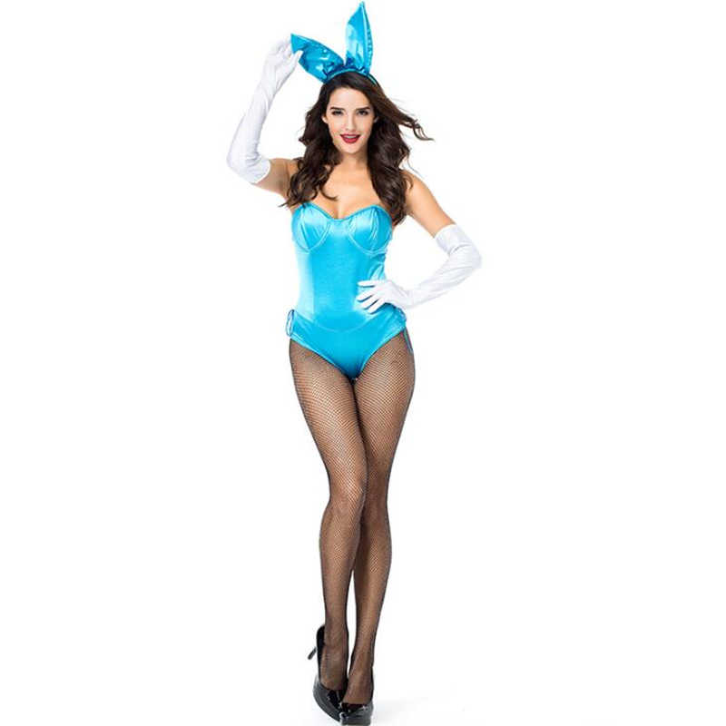 4ad95556d Womens Sexy Bunny Suit Halloween Lingerie Costume Playboy Playmate Romper  Cosplay