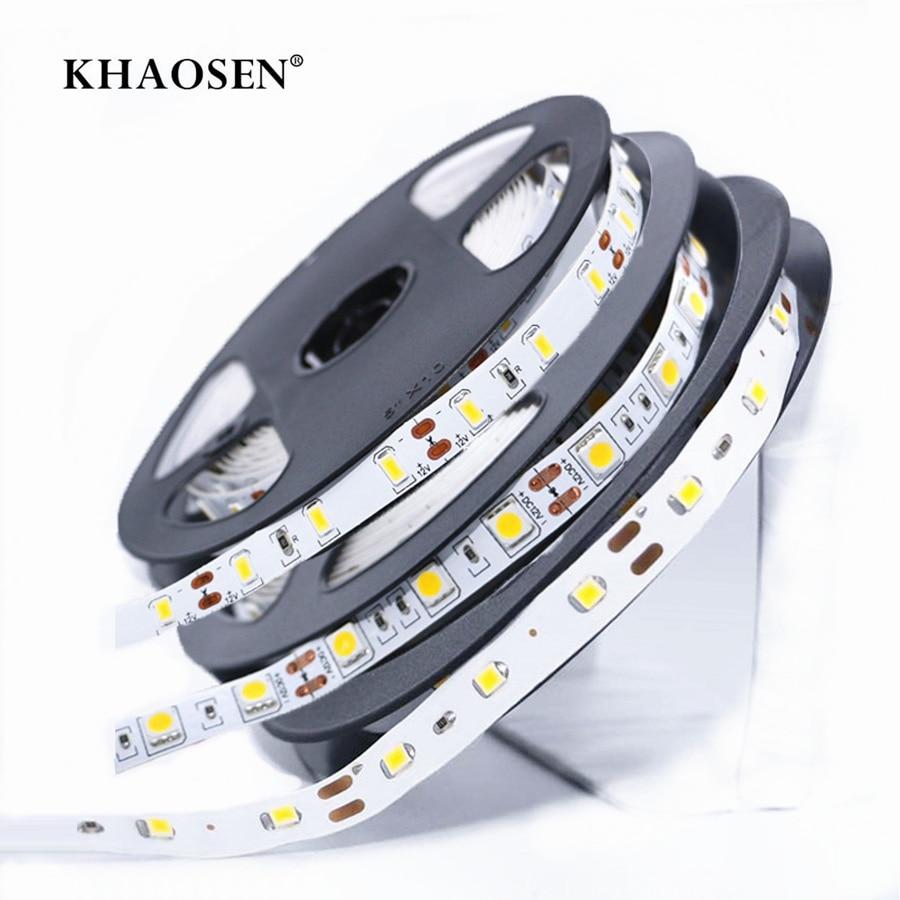 Khaosen SMD 2835 5630 5050 NO-Waterproof RGB LED Strip 5050 Pink 300LEDs/5M 0.5m-5m DC12V Flexible LED Home Decoration Lamp