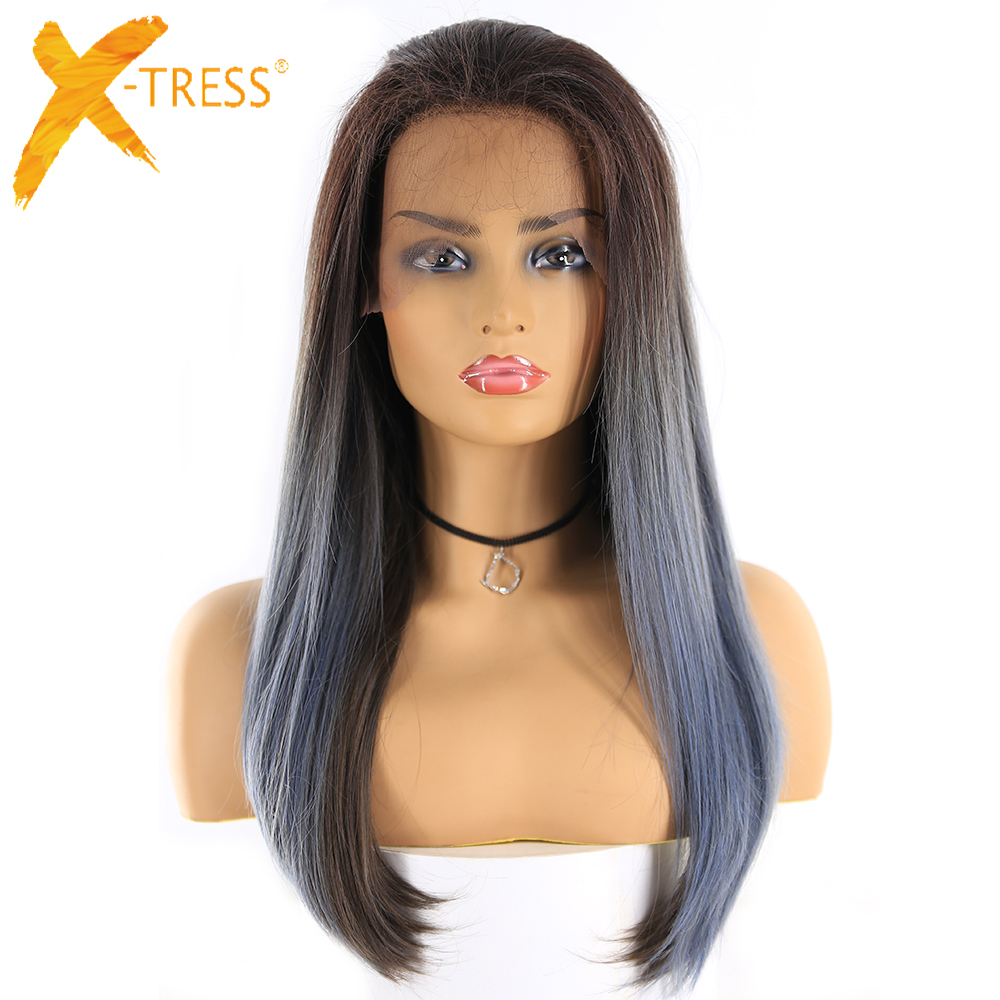 Ombre Color Lace Front Synthetic Hair Wigs For Women X-TRESS 24inch Long Straight Lace Frontal Wig Free Part With Baby Hair