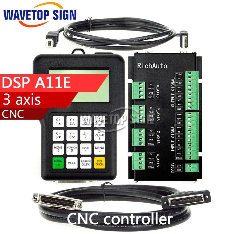 RichAuto DSP A11 CNC controller A11S A11E 3 axis controller for cnc router better than DSP 0501 controller цена