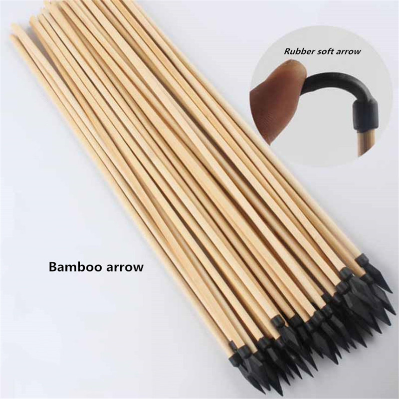 15pcs Natural Wood Arrow Diameter 7mm Length 50cm With Rubber Soft Arrow Bow And Arrow Archery Wood Bow Special Arrow