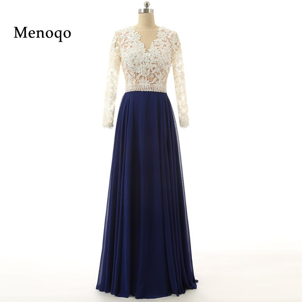 Royal Blue Long Sleeve Lace Prom Dresses