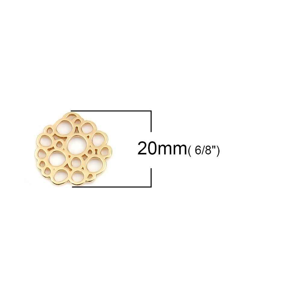 "DoreenBeads אבץ מבוסס סגסוגת מחברים סדיר זהב מעגל חלול תכשיטי DIY קסמי 20mm (6/8 "") x 19mm (6/8 ""), 10 PCs"