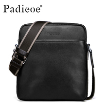 Padieoe Fashion High Quality Genuine Leather Men Bag Casual Cowhide Leather Small Crossbody Shoulder Messenger Bags