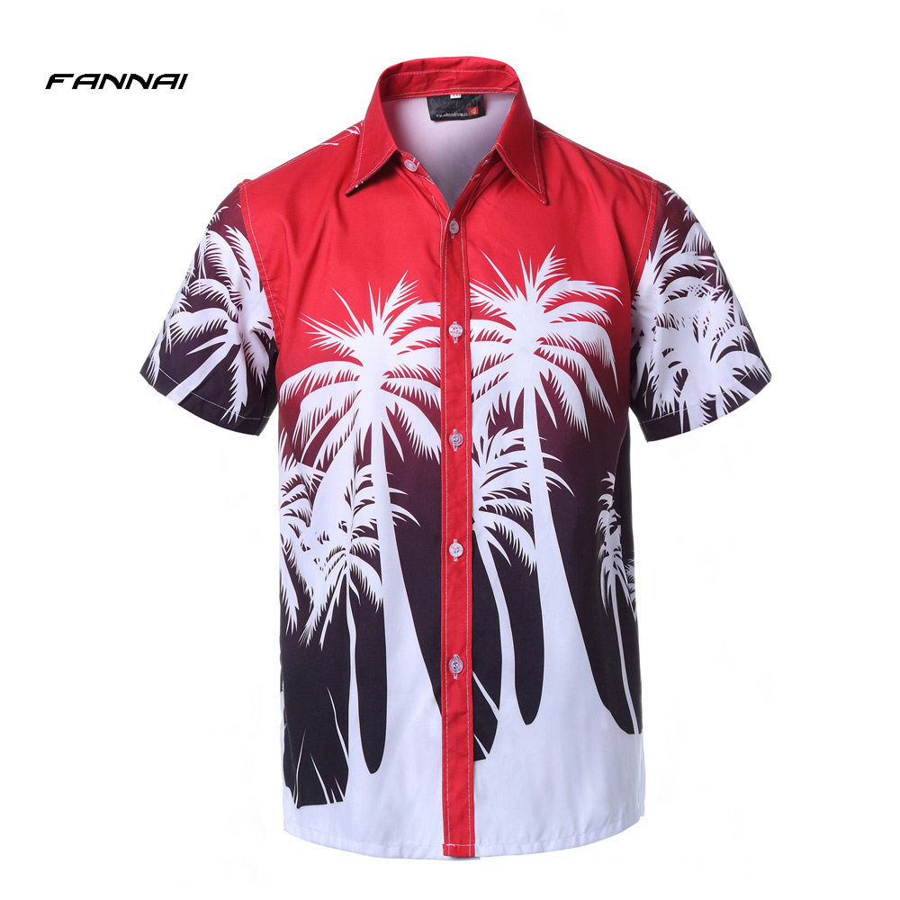 e0f84e7ca15 Hawaii Holiday Casual Men s Beach Shirts New Short Sleeve Floral Loose  Quick Dry Shirts Men Clothes