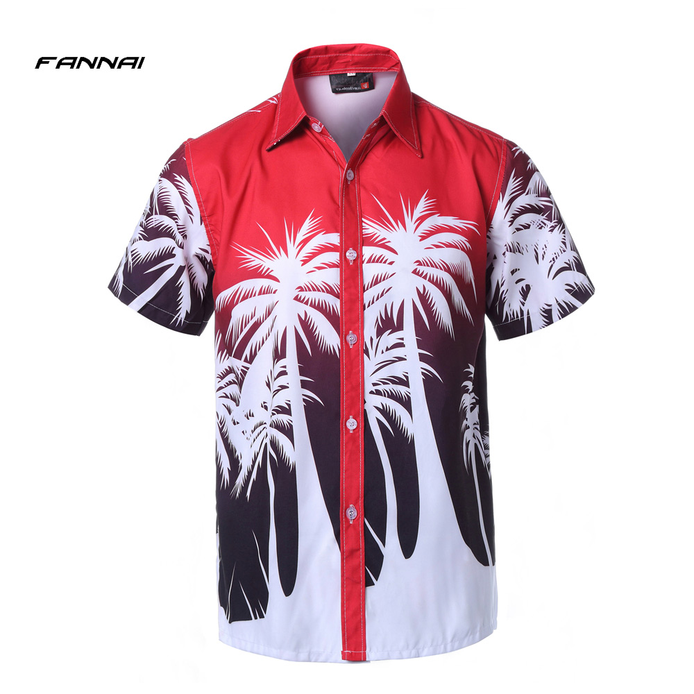 New Hawaii Holiday Casual Men's Beach Shirts Short Sleeve Floral Loose Quick Dry Shirts Men Clothes Plus Size 4XL Free Shipping