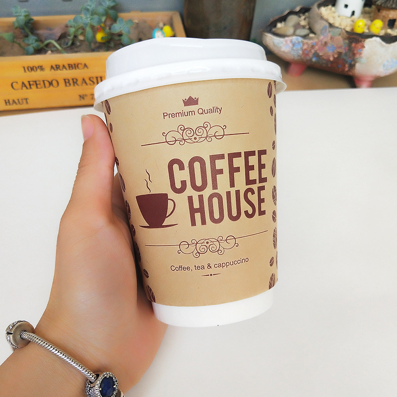 50pcs Disposable coffee cup 9OZ  Kraft Paper Milk Tea Packaging Cups Beverage Takeaway Packages Thicken Hollow Paper Cup Кубок