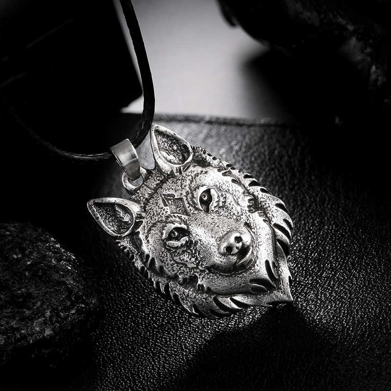 Tibetan Silver Wolf Head Pendant Necklace Norse Wolf Head Necklace Original Animal Jewelry Wolf Head 1Pcs